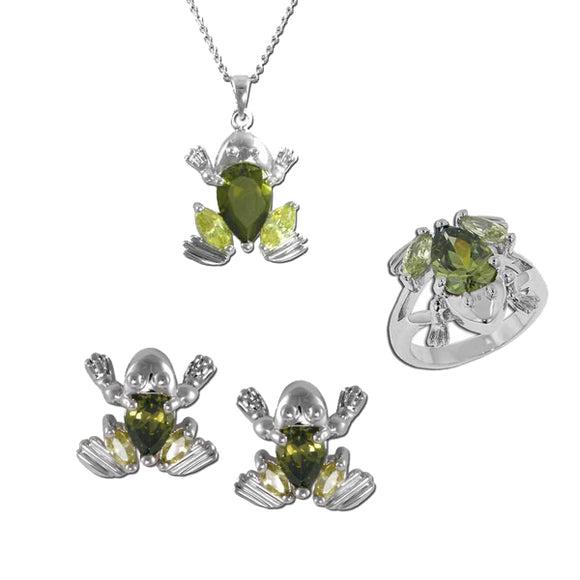 Frog Necklace, Ring, & Earrings
