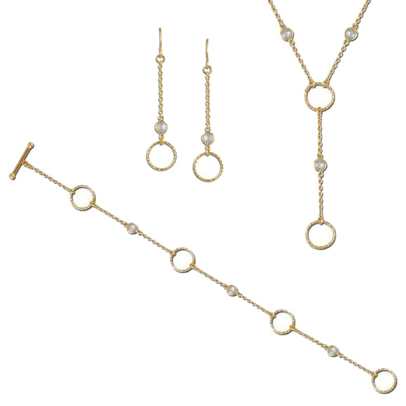 Gold Circles by the Inch Necklace, Bracelet, & Earrings