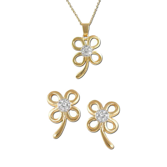 Gold Clover Pendant & Earrings
