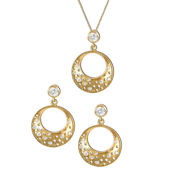 Gold Half-Moon Pendant & Earrings