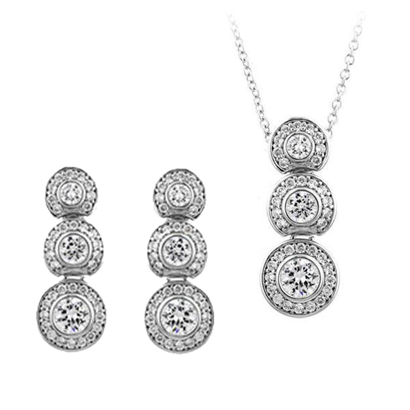 Graduated Bezel Set Rounds Pendant & Earrings