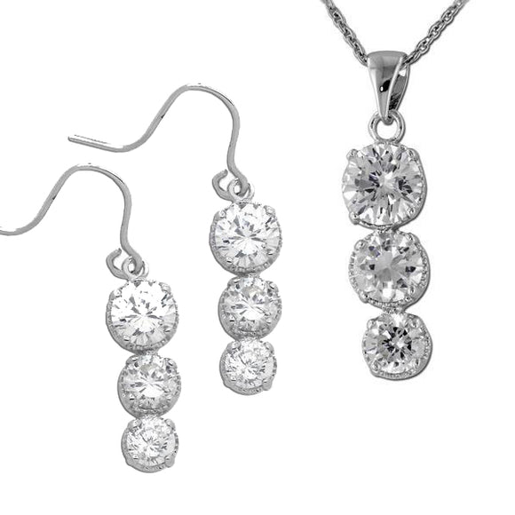 Hammered Graduated Rounds Necklace & Earrings