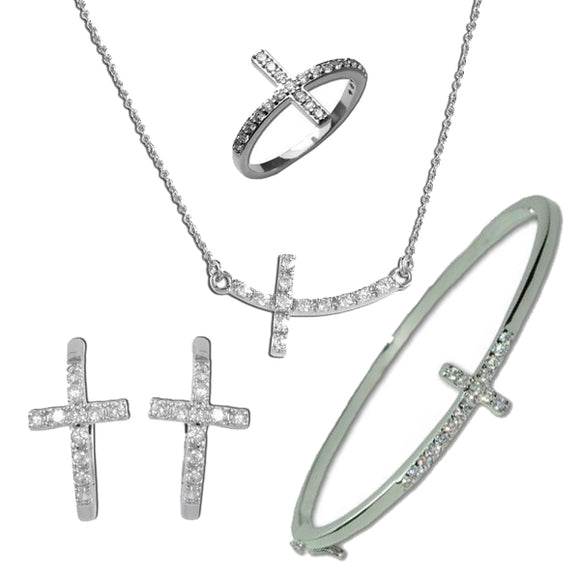 Horizontal Cross Necklace, Ring, Bracelet, & Earrings