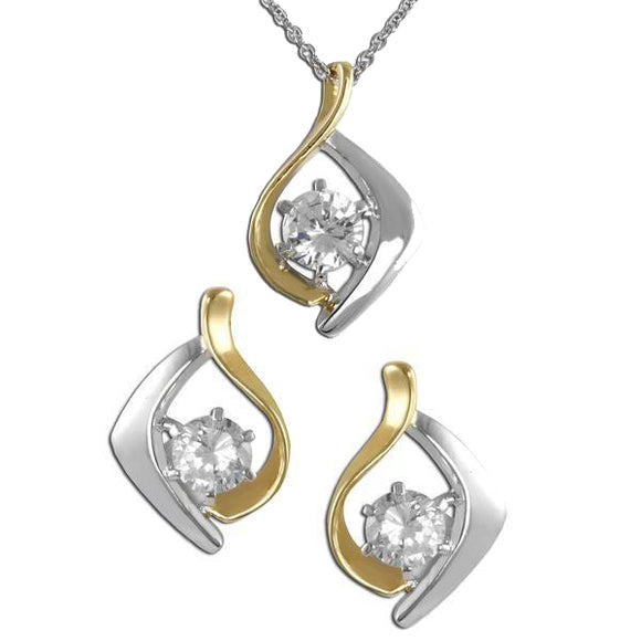 Intertwined Two-Tone Pendant & Earrings