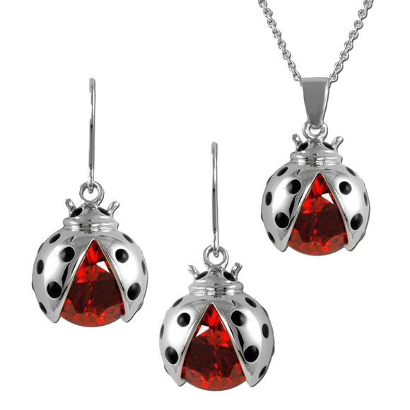 Ladybug Necklace & Earrings