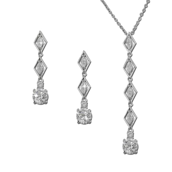 Marquise & Round Drop Pendant & Earrings