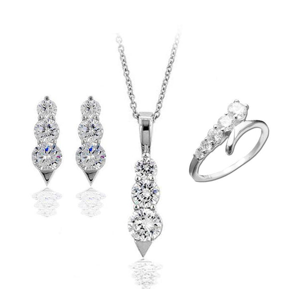 Modern Graduated Rounds Pendant & Earrings