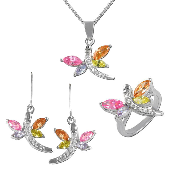 Multicolor Dragonfly Pendant, Ring, & Earrings