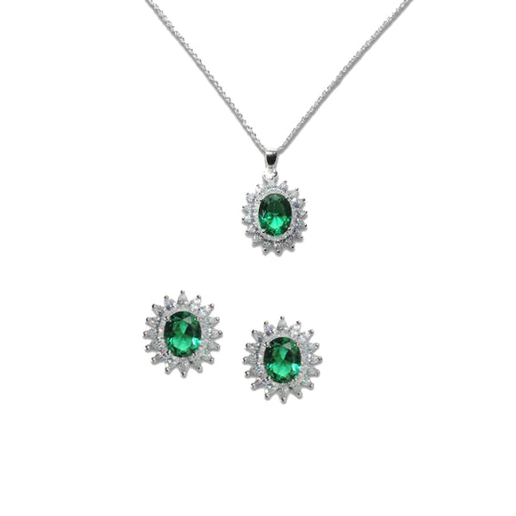 Oval Cut Emerald Pendant & Earrings