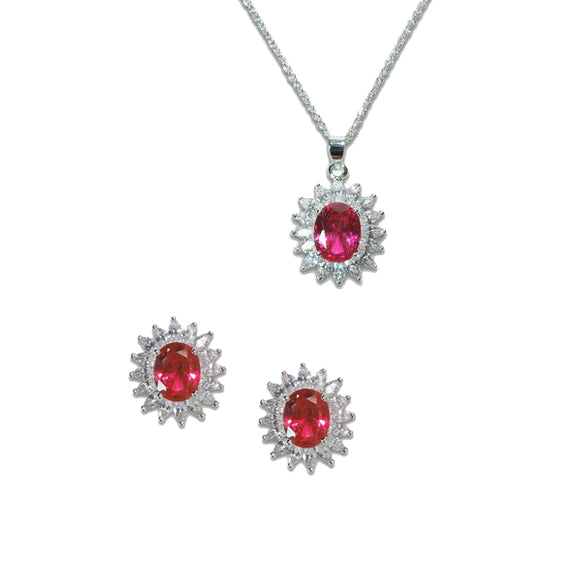 Oval Cut Ruby Pendant & Earrings