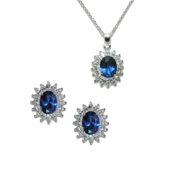 Oval Cut Sapphire Pendant & Earrings