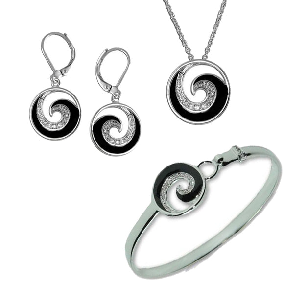 Pavé Enamel Swirl Pendant, Bracelet, & Earrings