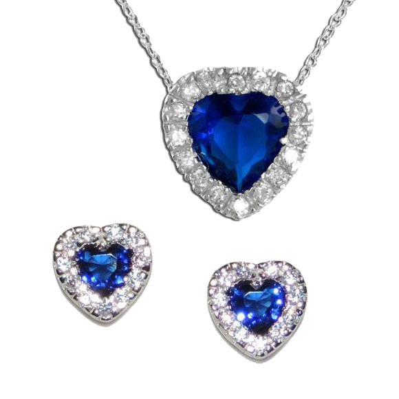 Pavé Sapphire Heart Pendant & Earrings