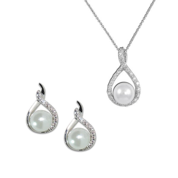 Pavé Teardrop Pearl Necklace & Earrings
