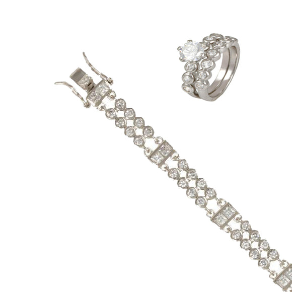Petite Bezel Set Rounds Wedding Ring Set & Bracelet