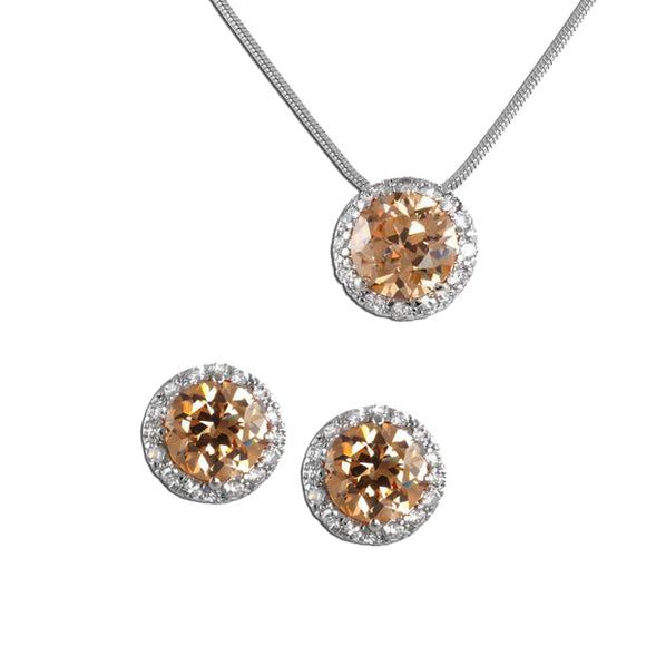 Round Cut Pavé Champagne Necklace & Earrings