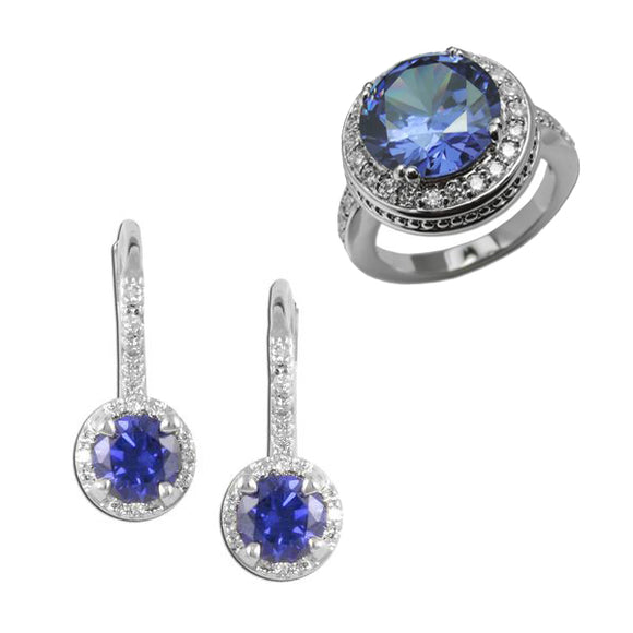 Round Tanzanite Ring & Earrings