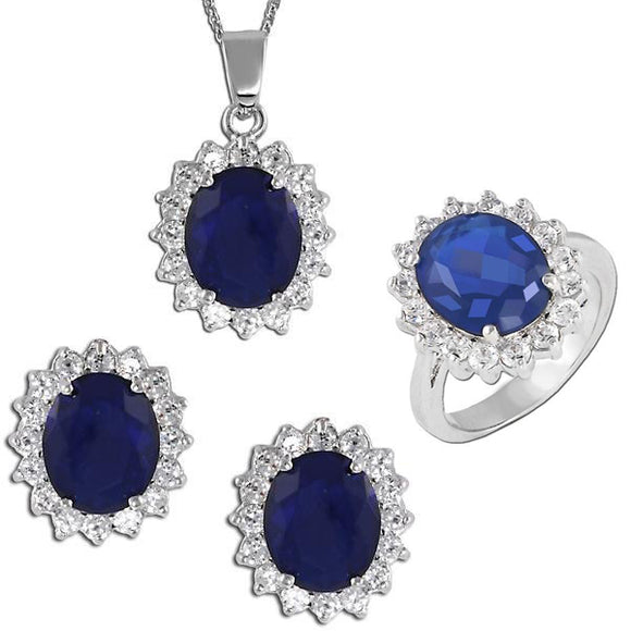 Royal Oval Cut Sapphire Pendant, Ring, & Earrings