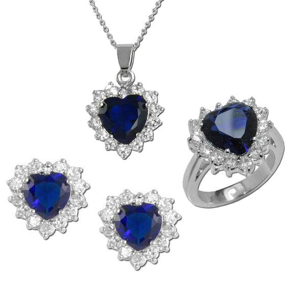 Sapphire Heart Necklace, Ring, & Earrings