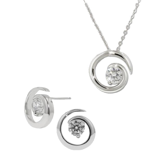 Solitaire Swirl Pendant & Earrings