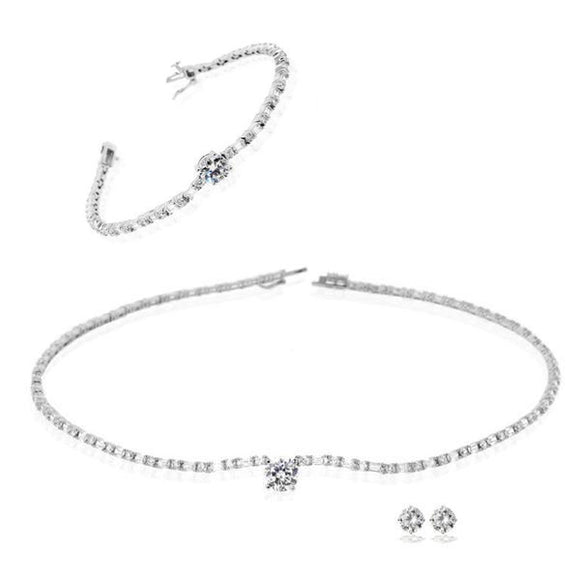 Solitaire on Emerald Cut Chain Necklace, Bracelet, & Earrings