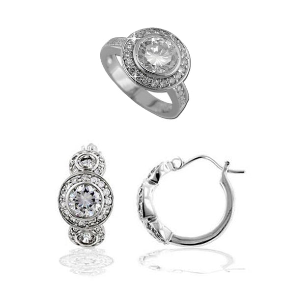 Sterling Silver Bezel Set Rounds Ring & Earrings