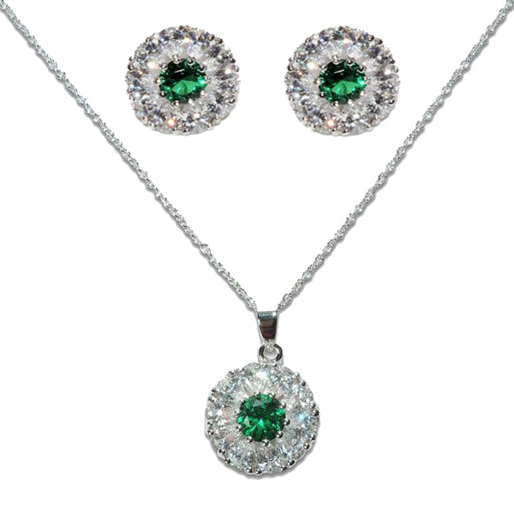 Sterling Silver Emerald Flower Pendant & Earrings