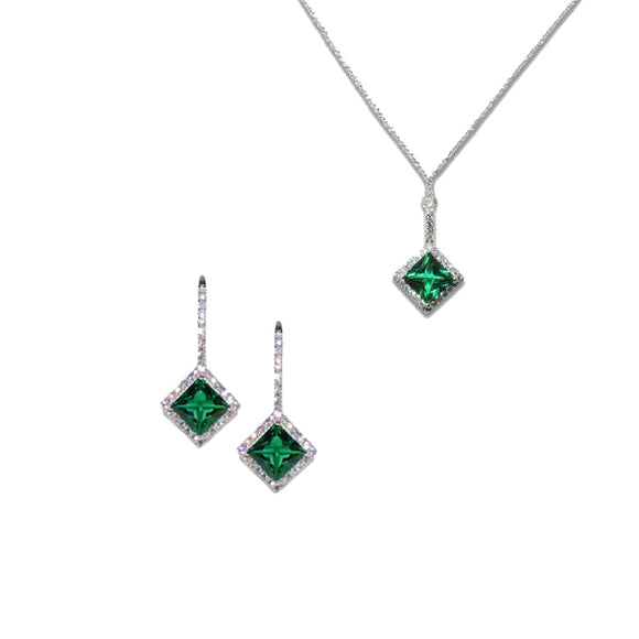 Sterling Silver Princess Cut Emerald Pendant & Earrings