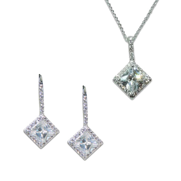 Sterling Silver Princess Cut Pendant & Earrings