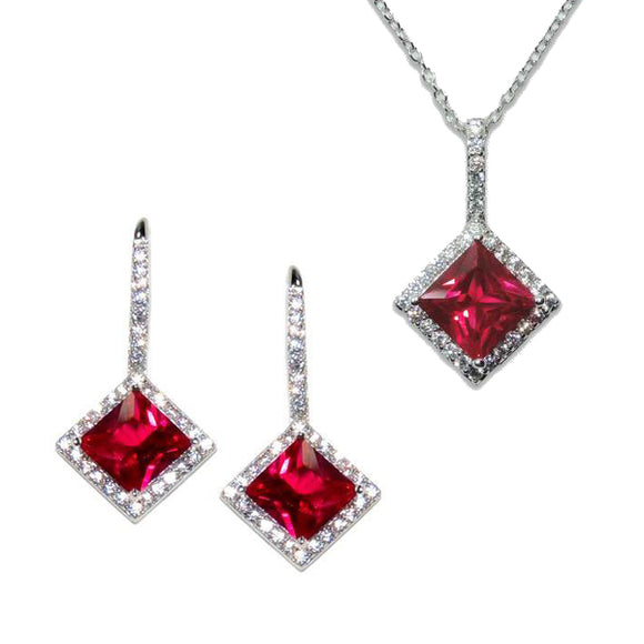 Sterling Silver Princess Cut Ruby Pendant & Earrings