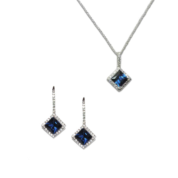Sterling Silver Princess Cut Sapphire Pendant & Earrings