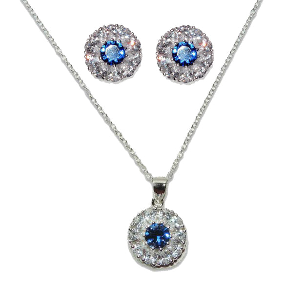 Sterling Silver Sapphire Flower Pendant & Earrings