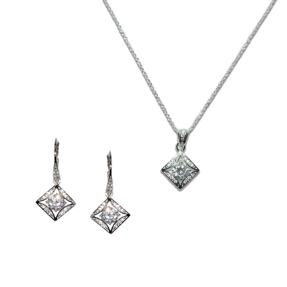 Sterling Silver Square Solitaire Pendant & Earrings