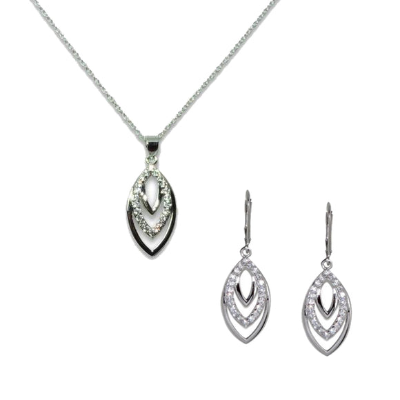 Sterling Silver Tiered Leaf Pendant & Earrings