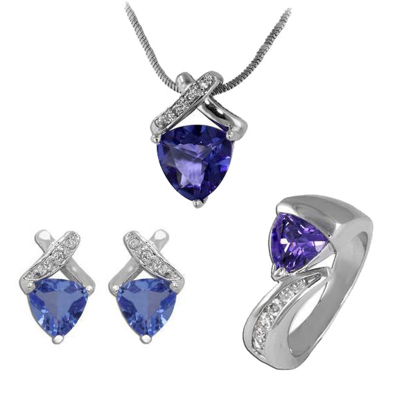 Tanzanite Trillion Pendant, Ring, & Earrings