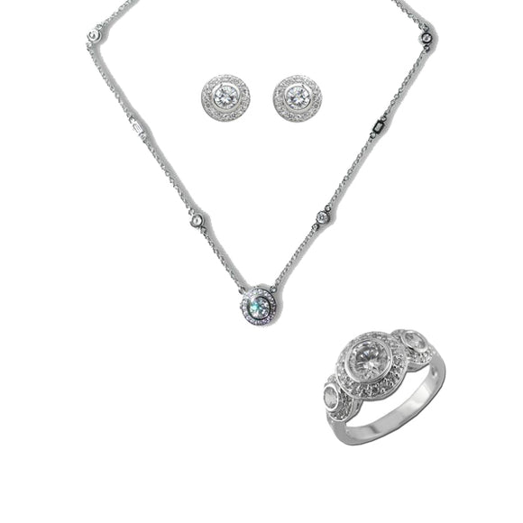 Timeless Pavé Bezel Set Rounds Pendant, Ring, & Earrings
