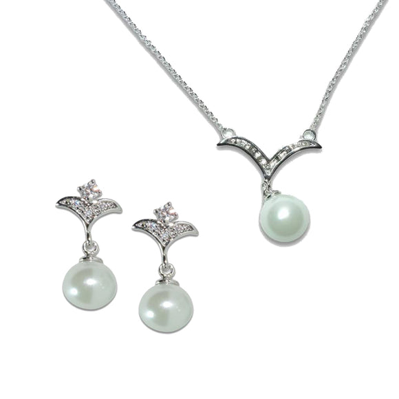 Wing Pearl Pendant & Earrings