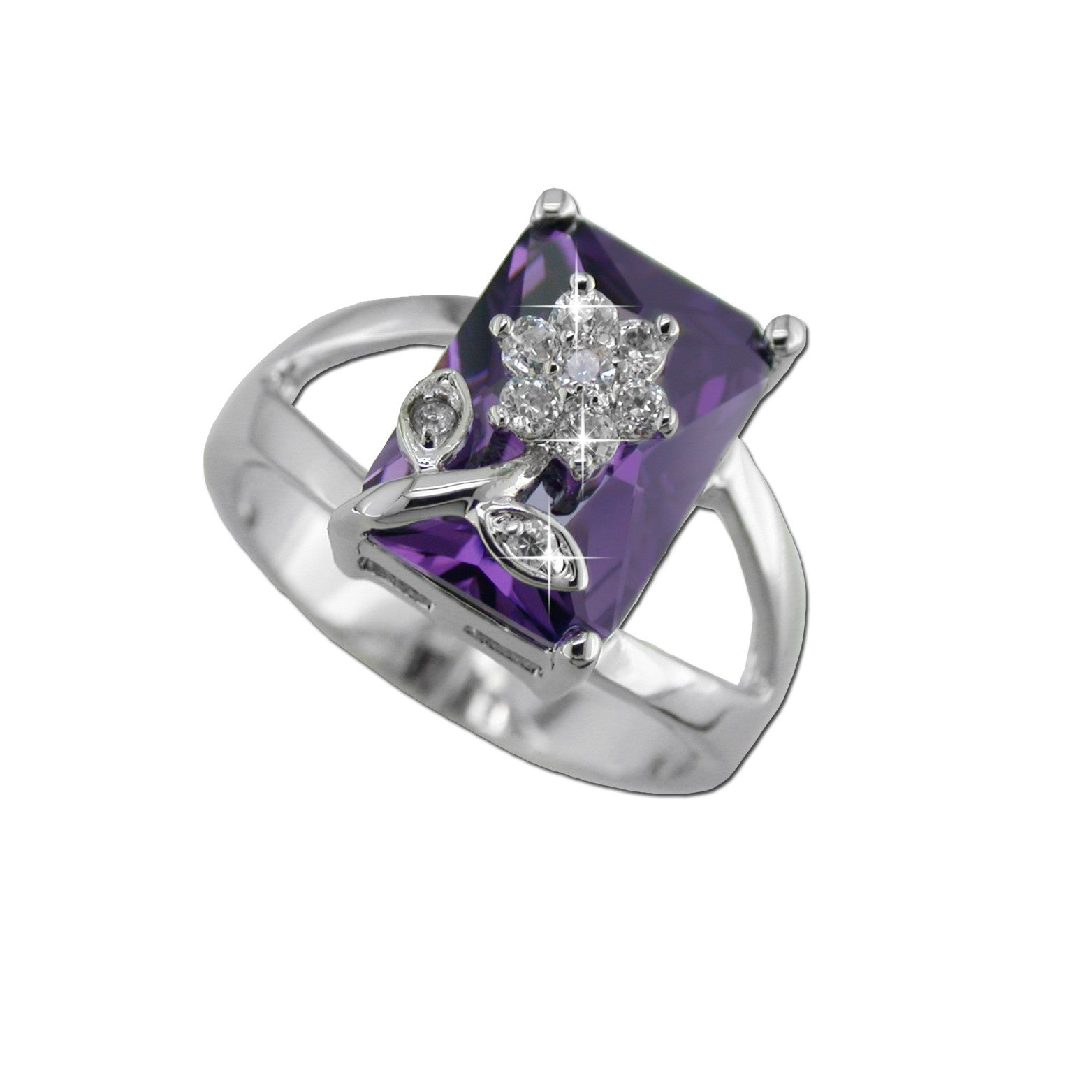 Amethyst With Pavé Flower Ring