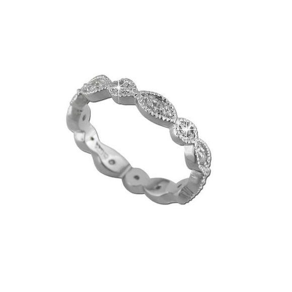 Rhodium Modern Eternity Band Ring