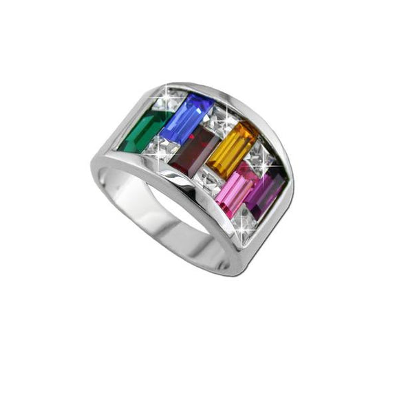 Multi Colored Emerald Cut Ring