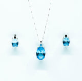 Oval Cut Aquamarine Necklace & Earrings