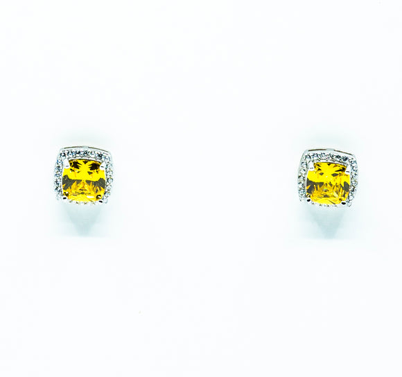 Cushion Cut Canary Pavé Earrings