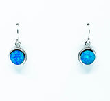 Round Cut Drop Opal Earrings