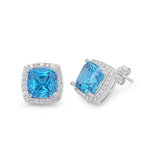 Cushion Cut Blue Topaz Pavé Earrings