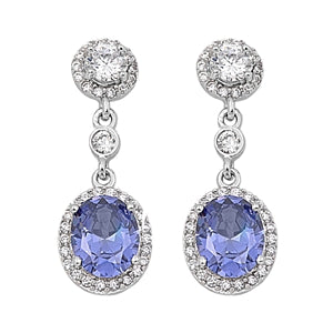 Round Cut Tanzanite Drop Earrings