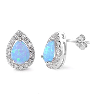Pear Cut Blue Opal Earrings