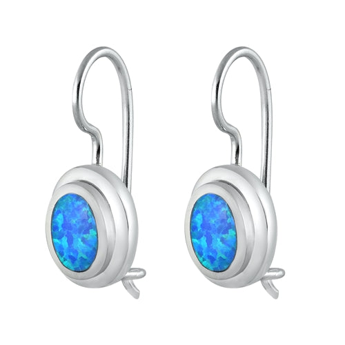 Oval Cut Blue Opal Drop Earrings