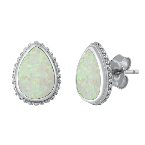 Pear Cut White Opal Earrings