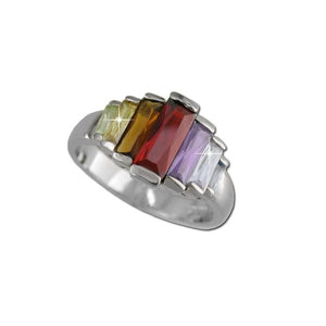 Graduated Multicolored Baguette Ring