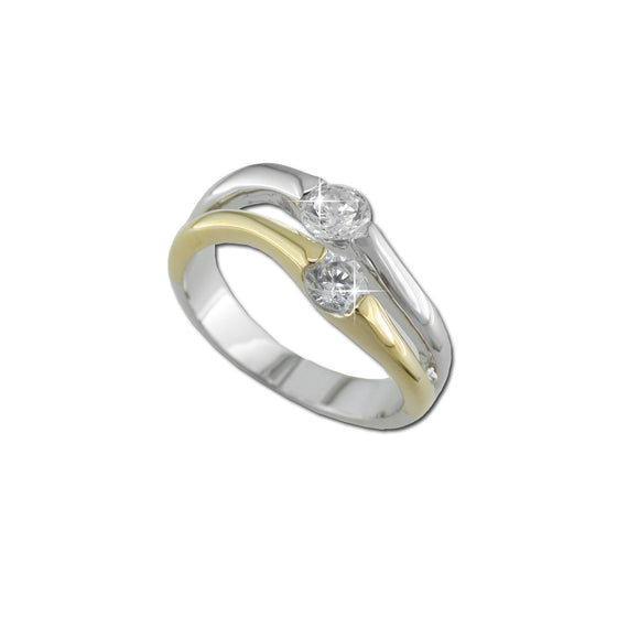 2 Tone Split Shank With 2 Rounds RIng